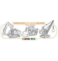 Crushing equipment cars with eyes coloring book vector