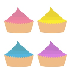Cupcacke set Flat design style Isolated vector image vector image
