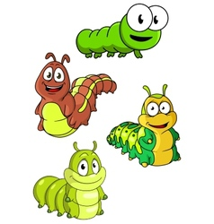 Cute colorful cartoon caterpillars characters vector