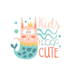 Cute kids logo baby shop label fashion print for vector