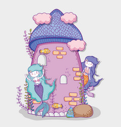 Cute mermaids women and castle with clouds vector