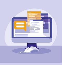 Desktop computer with webpage templates vector