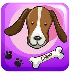 Dog head on the badge vector image