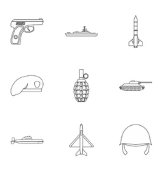 Equipment for war icons set outline style vector