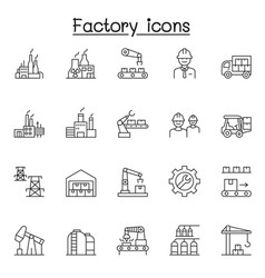 factory industrial icons set in thin line stlye vector image