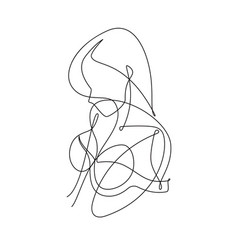 Female figure continuous line art 5 vector