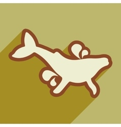 Flat icon with long shadow whale fountain vector