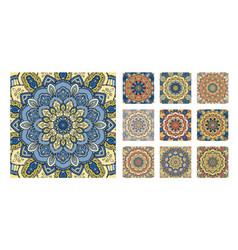 Flower pattern tile blue yellow orange decoration vector