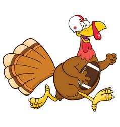 Football turkey bird cartoon character running vector