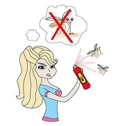 girl kill mosquito vector image