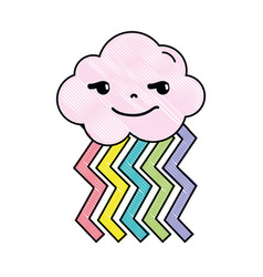 Grated rogue cloud kawaii with rainbow design vector