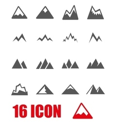 grey mountains icon set vector image