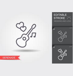 guitar and hearts line icon with shadow and vector image