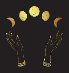 Hand drawn line art and dot work gold moon phases vector