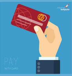 Hand with credit card vector