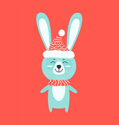 Hare with warm knitted clothes vector