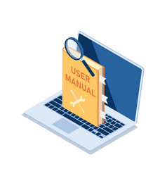 Isometric user manual with magnifying glass vector