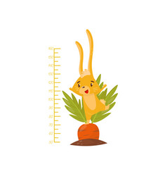Kids height meter with cute yellow bunny on carrot vector