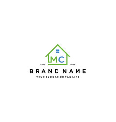 Letter mc home logo design vector