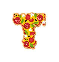 Letter t pizza font italian meal alphabet vector