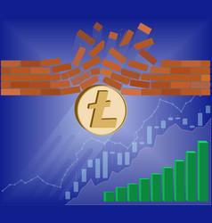 Litecoin coin breaks through the wall resistance vector