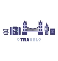 London Travel Symbols Set By Five In Line vector