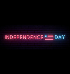 long neon banner for independence day usa vector image