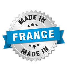 made in France silver badge with blue ribbon vector image