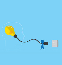 man hold plug with light bulb vector image