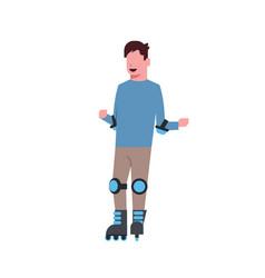 man roller skating over white background vector image