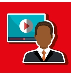 Man with media player template isolated icon vector