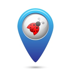 Map pointer with ladybug icon vector image