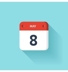 May 8 isometric calendar icon with shadow vector