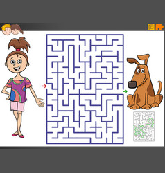 Maze game with cartoon girl and puppy vector
