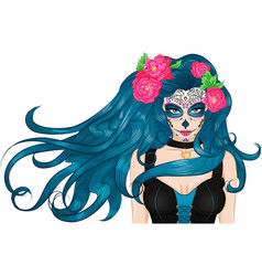 Mexican Sugar Skull makeup long hair Girl vector image