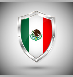 mexico flag on metal shiny shield collection vector image