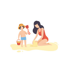 Mom and her son playing on sandy beach happy vector