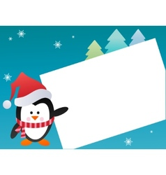 penguin on snowy background vector image vector image