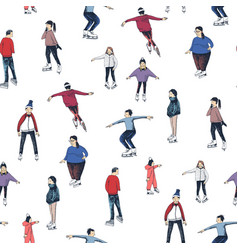 people on ice rink seamless pattern vector image