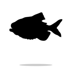 piranha fish black silhouette aquatic animal vector image