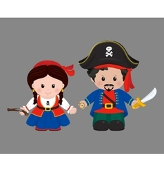 Pirates in cartoon style vector