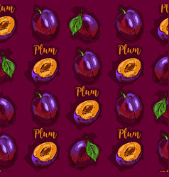 Plum fruit seamless pattern hand-drawn plums vector