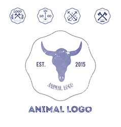 Polygonal hipster logo with head of buffalo in vector