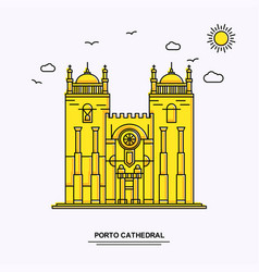 Porto cathedral monument poster template world vector