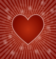 Red heart on abstract bokeh background vector image