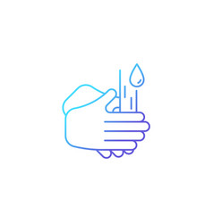 Rub palms together gradient linear icon vector