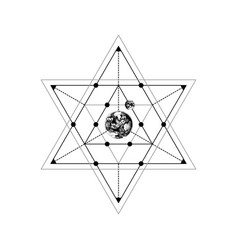 Sacred geometry sign with hand drawn earth and vector