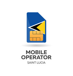 saint lucia mobile operator sim card with flag vector image