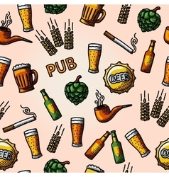 Seamless pub - beer handdrawn pattern vector image