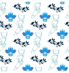 Seamless wedding pattern with blue flowers vector image